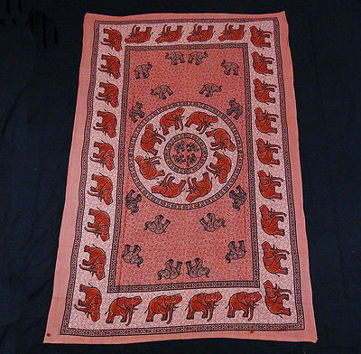 INDIAN ELEPHANT TAPESTRY BED SHEET BED SPREAD WALLHANGING COTTON 82 x 54 ORANGE
