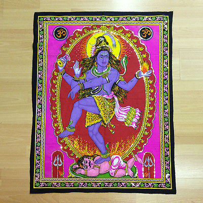 SHIVA NATARAJA Hindu God Sequin Batik Wall Hanging Cotton Batik Tapestry LARGE