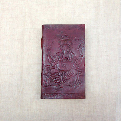 Ganesh Embossed on LARGE Leather Bound Handmade Paper Journal Diary Note Book