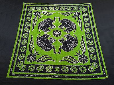 Four Indian Elephants Tapestry Wallhanging Bedsheet Blanket Cotton Queen Green