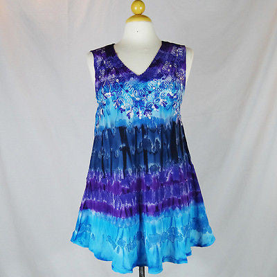 Ladies Hippie Boho Shirt Top Sleeveless V Neck Tye Dye HANDMADE INDIA 2
