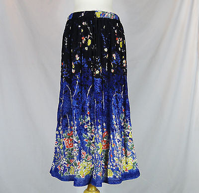 Floral Indian Ladies Boho Hippie Long Skirt Rayon Black and Blue