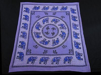 ROYAL INDIAN ELEPHANT TAPESTRY BED SHEET BED SPREAD WALLHANGING QUEEN PURPLE
