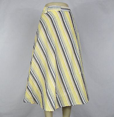 Striped Cool Comfortable Summer Wrap Around Skirt India Cotton Gray Yellow