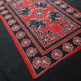 Four Indian Elephants Tapestry Wallhanging Bedsheet Cotton Red 54 x 82