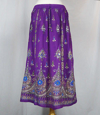 Ladies Indian Boho Hippie Long Sequin Skirt Rayon Purple