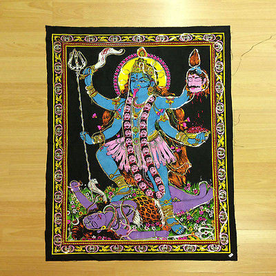 KALI Hindu Goddess Sequin Batik Wall Hanging Cotton Batik Tapestry India MEDIUM