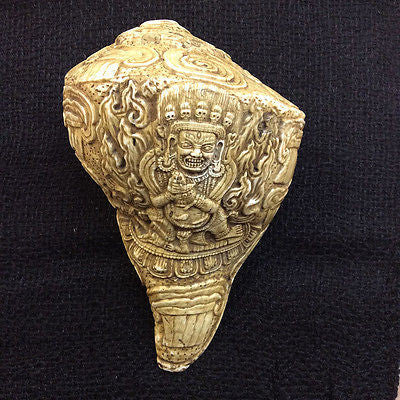 Genuine Mahakala Tibetan Buddhist Conch Horn Hand carved from Nepal