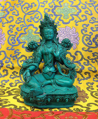 Large Green Tara Tibetan Buddhist Statue Handmade from Nepal Resin 8 Inch
