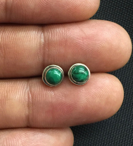NEW 925 Sterling Silver Genuine Malachite Small Round Stud Earrings Studs