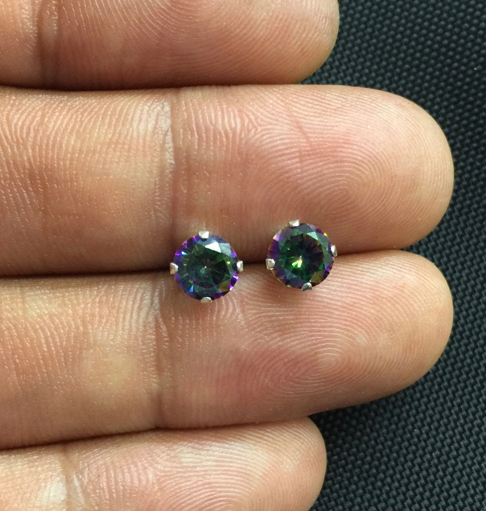 NEW 925 Sterling Silver Genuine Mystic Topaz Small Round Stud Earrings Studs