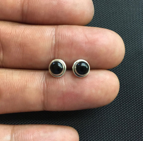 NEW 925 Sterling Silver Genuine Black Onyx Small Round Stud Earrings Studs