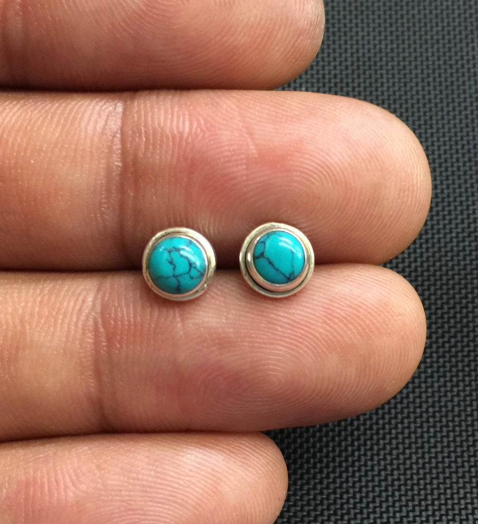 NEW 925 Sterling Silver Genuine Turquoise Small Round Stud Earrings Studs