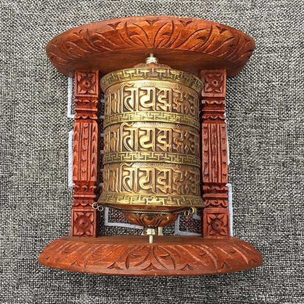 Golden Tibetan Buddhist Brass Copper PRAYER WHEEL Wall Hanging Wooden Frame 3