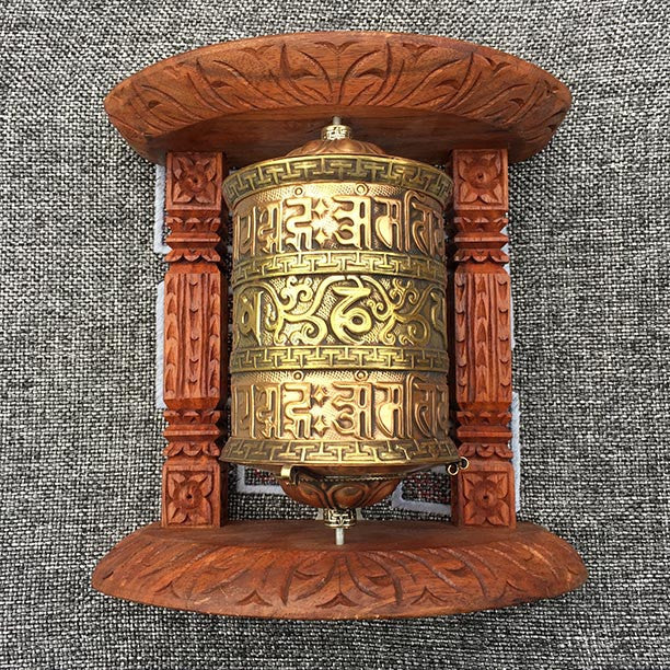 Golden Tibetan Buddhist Brass Copper PRAYER WHEEL Wall Hanging Wooden Frame 5