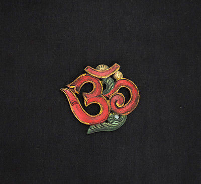 OM Wood Wallhanging Red Eco-friendly Handmade from Nepal Small