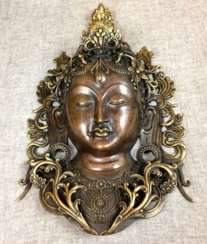 White Tara Tibetan Buddhist Bronze Mask Handcrafted Nepal Very Detailed