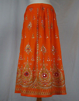 Ladies Indian Boho Hippie Long Sequin Skirt Rayon Orange