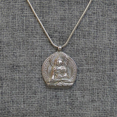 Buddha Shakyamuni Enlightenment Sterling Silver 925 Pendant Made in Nepal