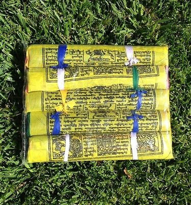 125 Tibetan Buddhist Prayer Flags Cotton Made by Tibetan Refugees LARGE 5 Rolls