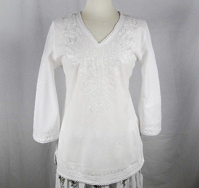 Indian Embroidered Boho Bollywood Top Tunic Shirt Kurtis Kurta Cotton White