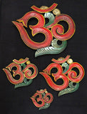 OM Wood Wallhanging Eco-friendly Handmade from Nepal Red X-Large