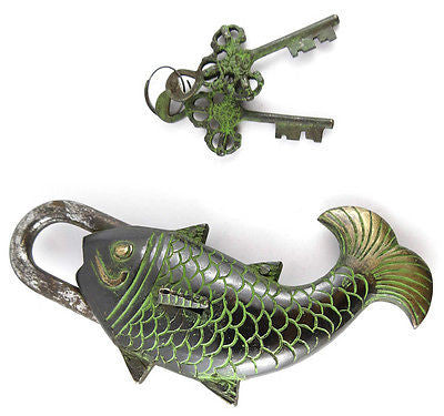 Fearless Fish Tibet Buddhist Vintage Style Brass Puzzle PadLock Lock 1