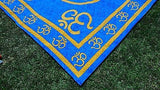BLUE AND YELLOW INDIAN HINDU OM TAPESTRY BED SHEET BED COVER WALLHANGING COTTON