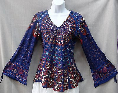 Indian Womens Ladies Peacock Hippie Boho Shirt Top Cotton Blue