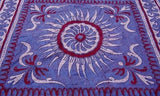 INDIAN SUNFLOWER TAPESTRY BED SHEET BED COVER WALLHANGING COTTON BLUE