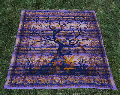 Tree Of Life Indian Tapestry Bed Sheet Bed Cover Wallhanging Cotton Queen Purple