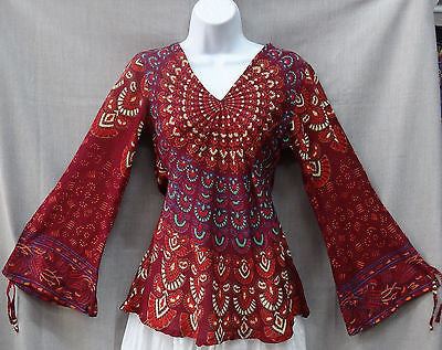 Indian Womens Ladies Peacock Hippie Boho Shirt Top Cotton Maroon Burgandy