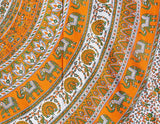 INDIAN ELEPHANT CIRCLE COTTON TAPESTRY  BEDSHEET WALLHANGING TABLE CLOTH ORANGE