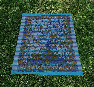 Tree Of Life Indian Tapestry Wallhanging Bed sheet Cotton Aqua 58 x 86 Inches