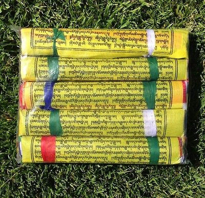 125 Tibetan Buddhist Prayer Flags Cotton Made by Tibetan Refugees XLARGE 5 Rolls