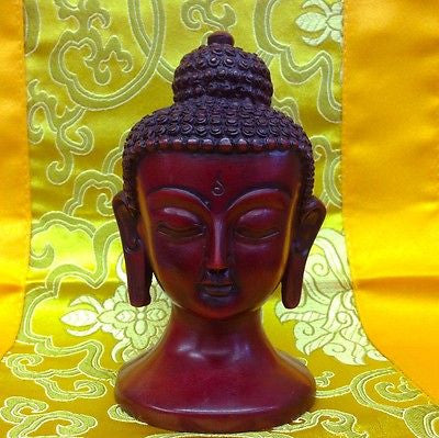 Buddha Head Tibetan Buddhist Handmade from Nepal Resin 4.5 Inches