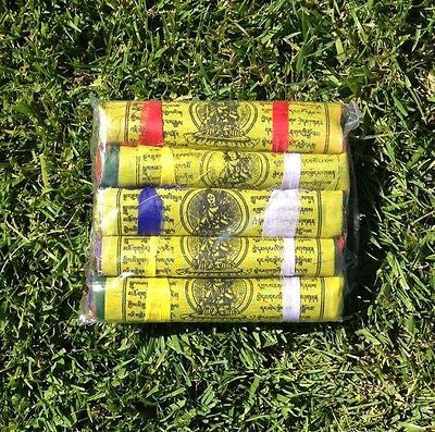 125 Tibetan Buddhist Prayer Flags Cotton Made by Tibetan Refugees MEDIUM 5 Rolls