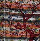 Tree Of Life Indian Tapestry Wallhanging Bed sheet Cotton Orange 58 x 86 Inches