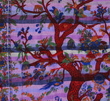 Tree Of Life Indian Tapestry Wallhanging Bed sheet Cotton Purple 58 x 86 Inches