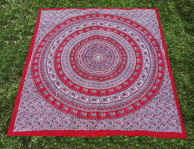 INDIAN ELEPHANT CIRCLE TAPESTRY BED COVER BED SHEET WALLHANGING  COTTON RED