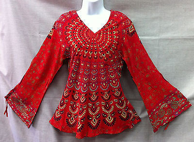 Indian Womens Ladies Peacock Hippie Boho Shirt Top Cotton Red