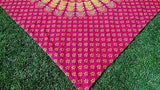 INDIAN PEACOCK MANDALA TAPESTRY BED SHEET BEDCOVER WALLHANGING COTTON RED YELLOW