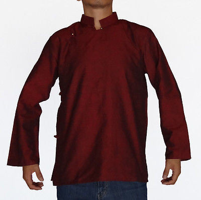 TRADITIONAL TIBETAN SHIRT FOR MEN OR WOMEN COTTON MAROON BURGUNDY
