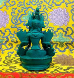 Medium Green Tara Tibetan Buddhist Statue Handmade from Nepal Resin 6 Inch