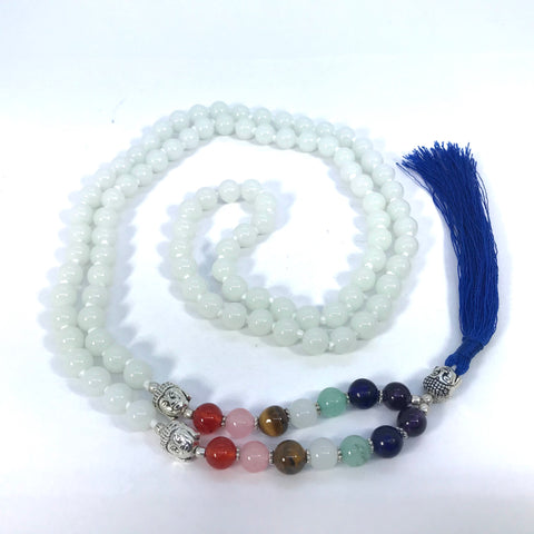 38 Inch Long Seven Chakra Healing Crystal White Agate Mala Hand Knotted 108 Prayer Bead Meditation Yoga Necklace Wrap Bracelet