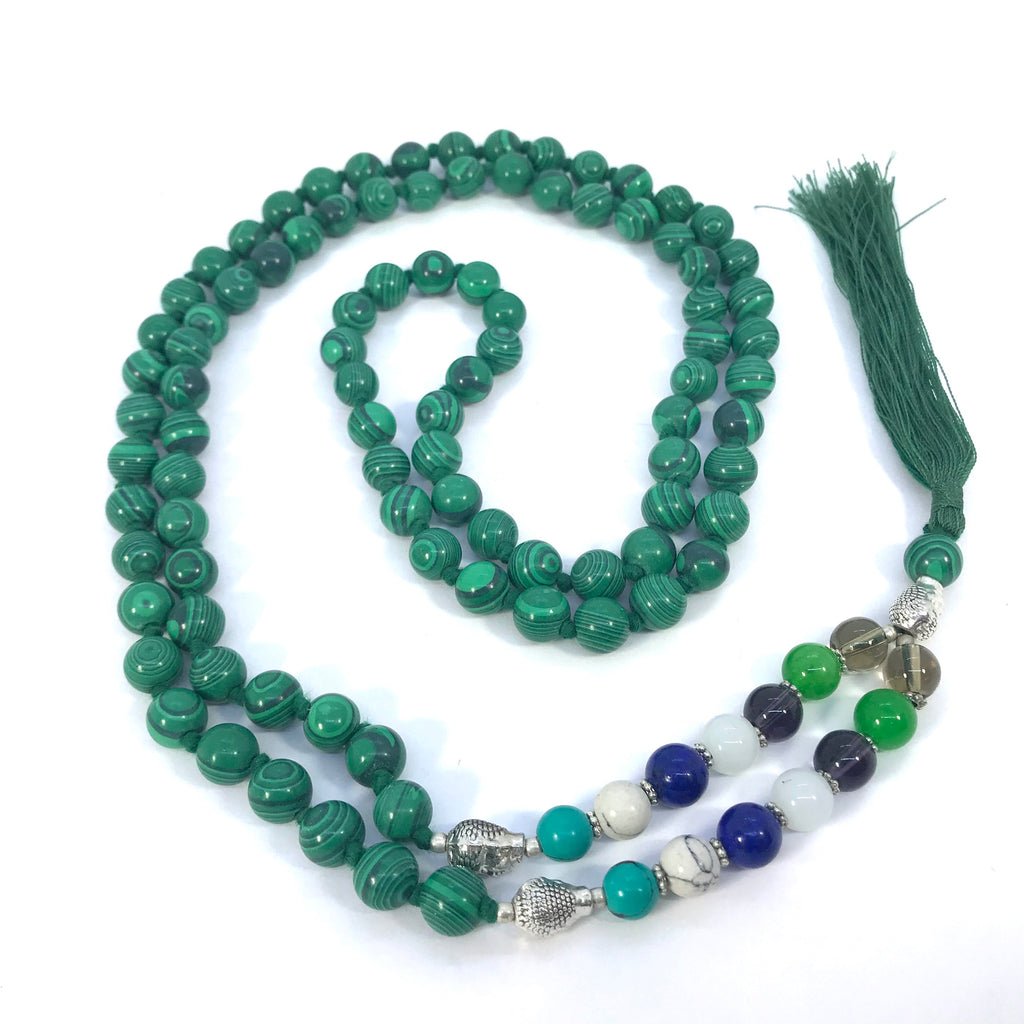 40 Inch Long Seven Chakra Healing Crystal Malachite Mala Hand Knotted 108 Prayer Bead Meditation Yoga Necklace Wrap Bracelet