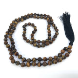 40 Inch Healing Crystal Tiger Eye Mala Hand Knotted 108 Prayer Bead Meditation Yoga Necklace Wrap Bracelet