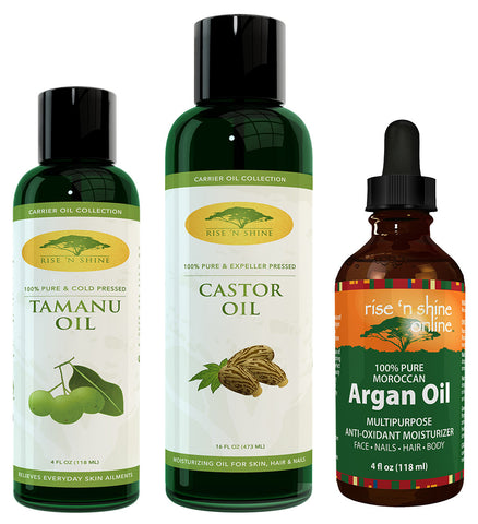 Carrier Oil Bundle - (16 oz) Castor Oil, (4 oz) Argan Oil & (4 oz) Tamanu Oil