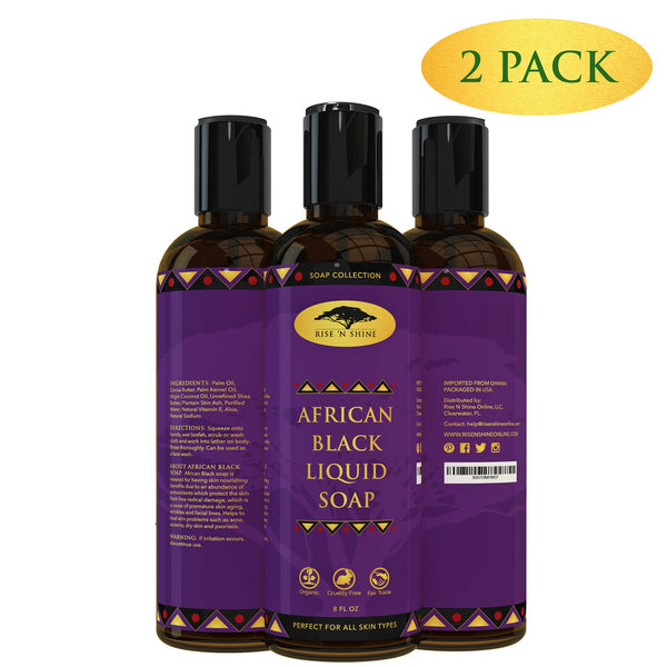 Soap - (8 Oz) African Black Soap Liquid Body Wash With Coconut Oil And Shea Butter