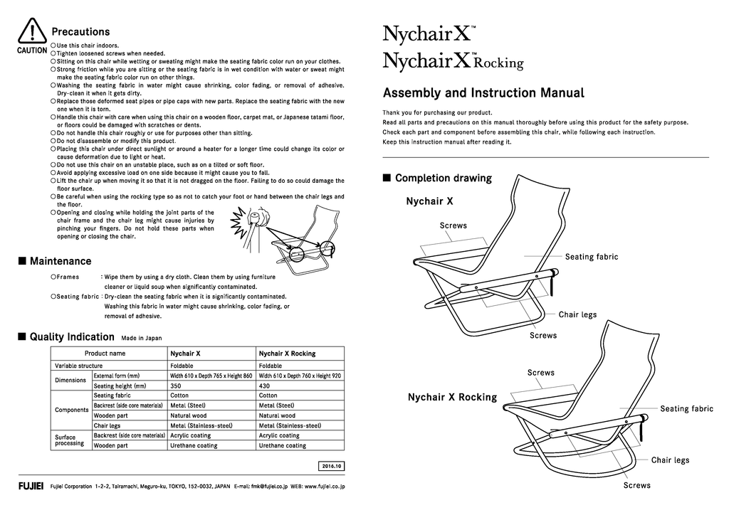 NyChairX Assembly and Instruction Manual - Page 1